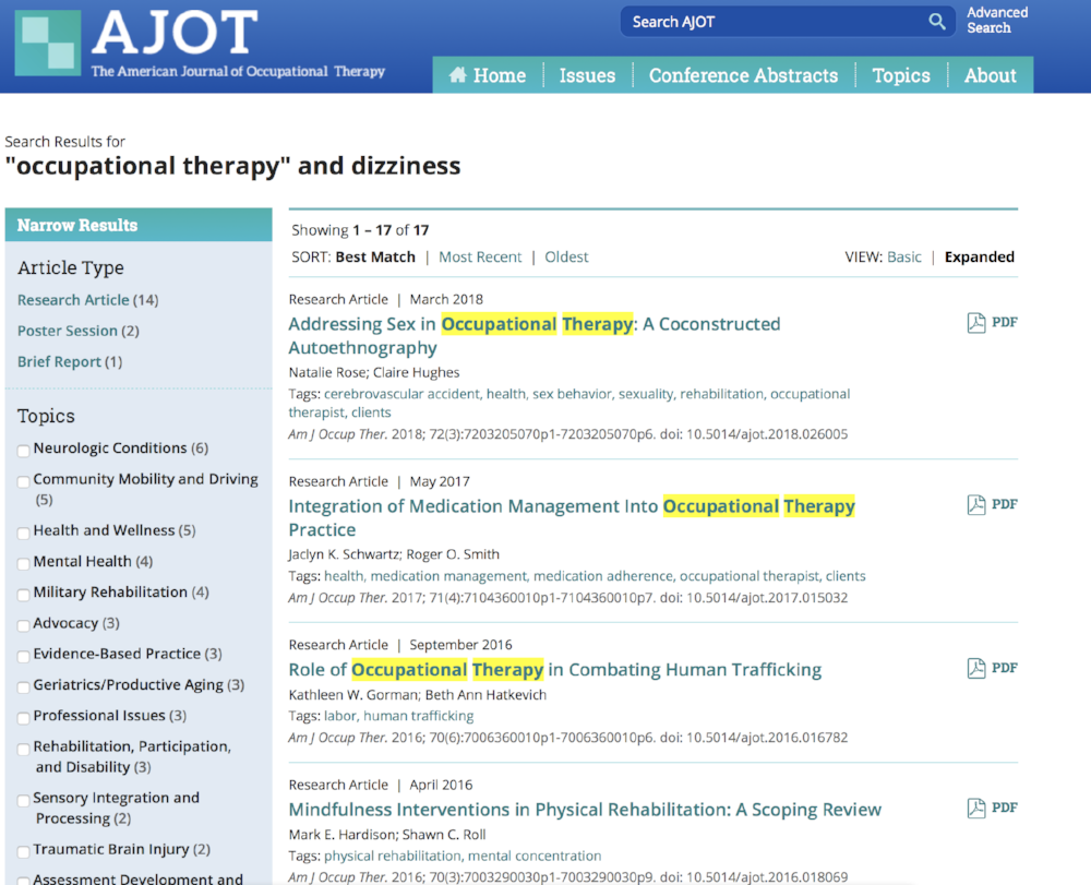 An example of what AJOT pulls for occupational therapy and dizziness.