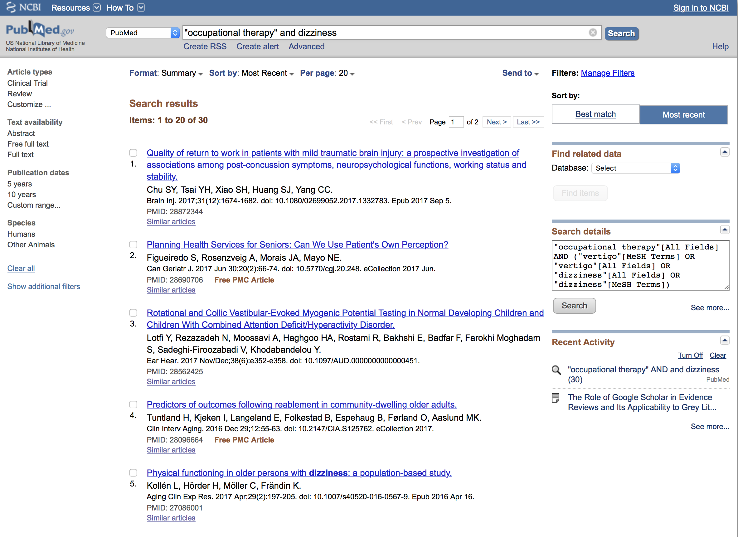 A sample of what PubMed pulls when you search for occupational therapy and dizziness.