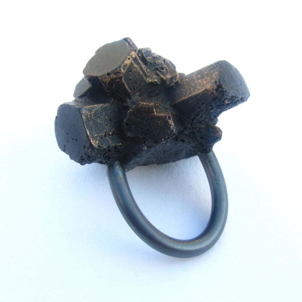 Black Beam ring 2012   Resin, oxidised silver, hand polished copper metallic lustre.