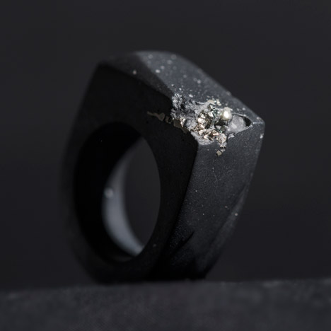 Black Ring,  Pyrite & Resin