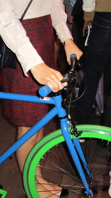 Closer view of Cat's Eye ring being worn during the live cycle fashion event in Camden, London.