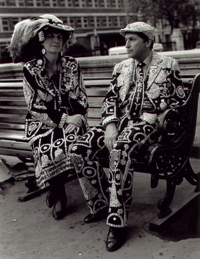 Wearing buttons as your identity; Carole and Pat Jolly, Pearly King and Queen of Crystal Palace - members of The London Pearly Kings and Queens Society  image courtesy of  www.pearlysociety.co.uk
