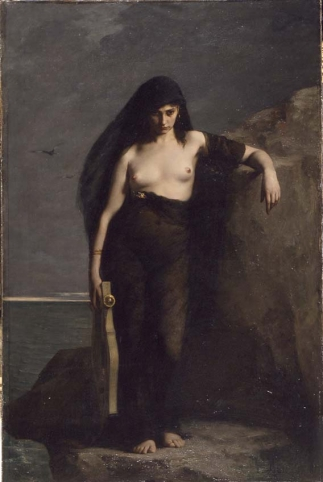 I've always loved this painting by Charles-August Mengin. It depicts the greek poet Sappho who lived around 600BC, from the story that she threw herself into the sea for an unrequited love.  Apparently  it appealed to the Parisian men attending the salon exhibition at the time, but I think the expression in her face is what makes it. SImilar to nudity in fashion photography today like a Dazed & Confused shoot of Kate Moss with her top off.