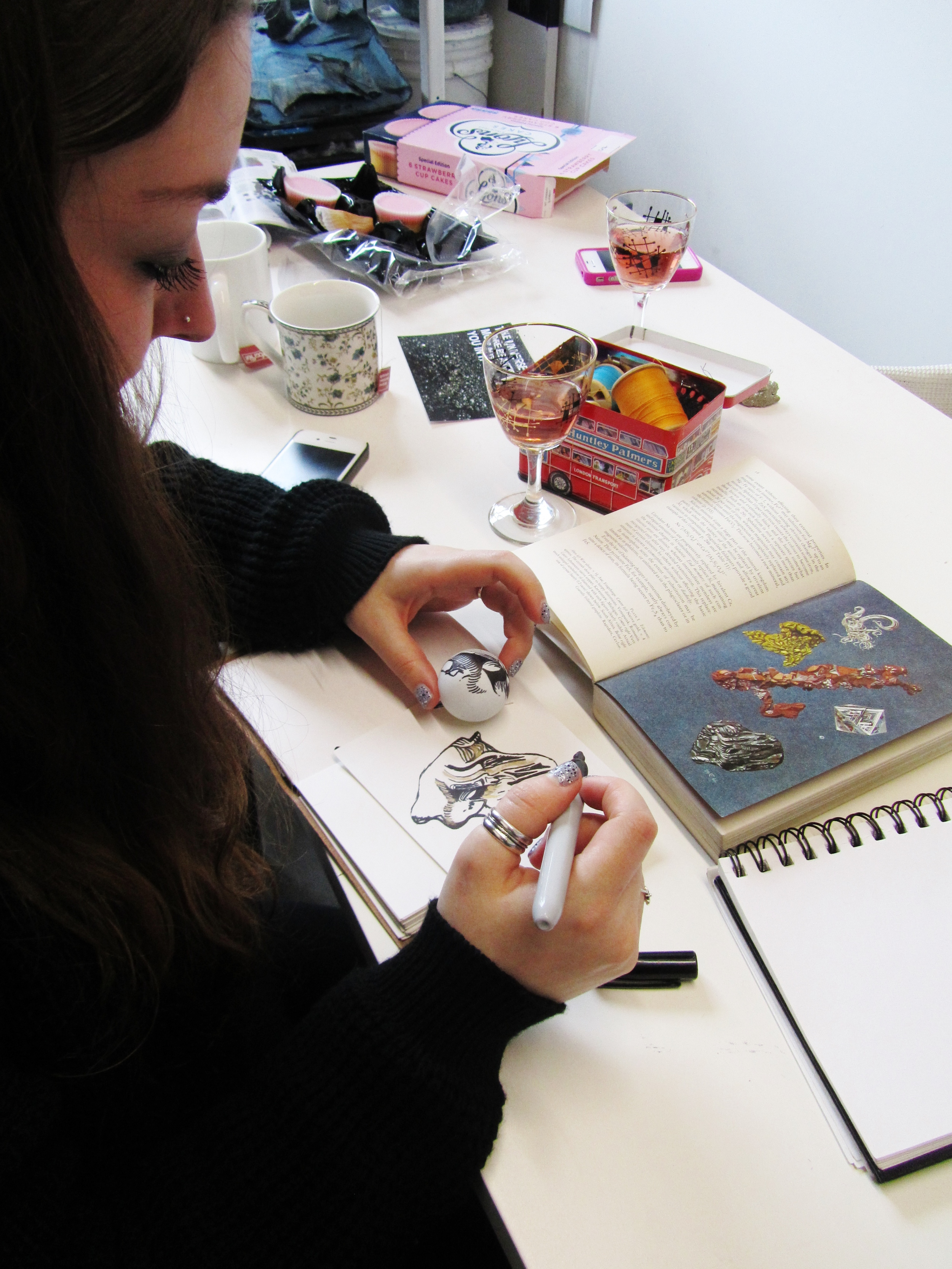 Here's Natty drawing her lovely design