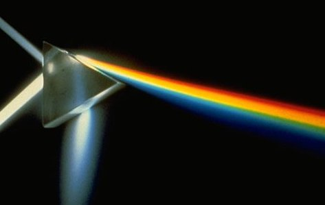 Here's a triangular prism refracting light