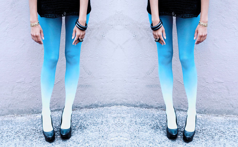 Ombre tights by BZR,   Hewn Bangles and ring, Jade Mellor