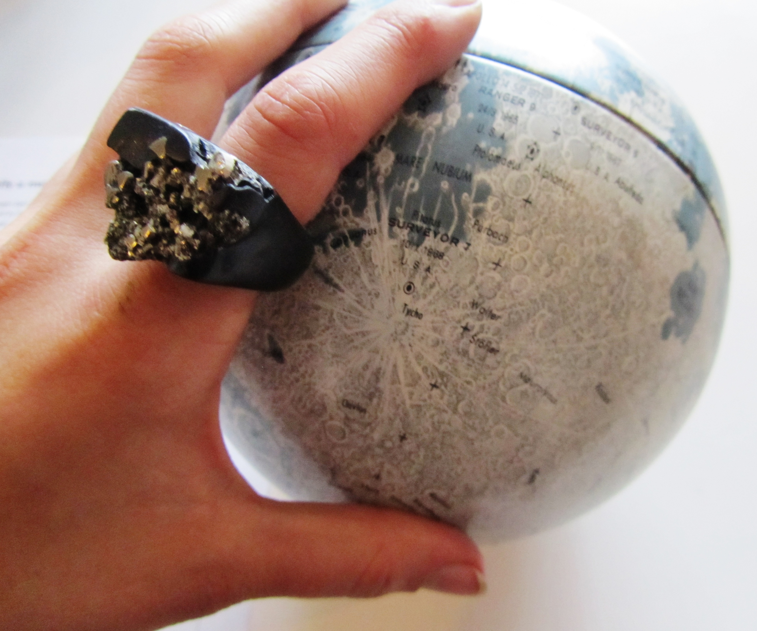 My black and pyrite Hewn ring and the Museum's lovely 70s model of the Moon.