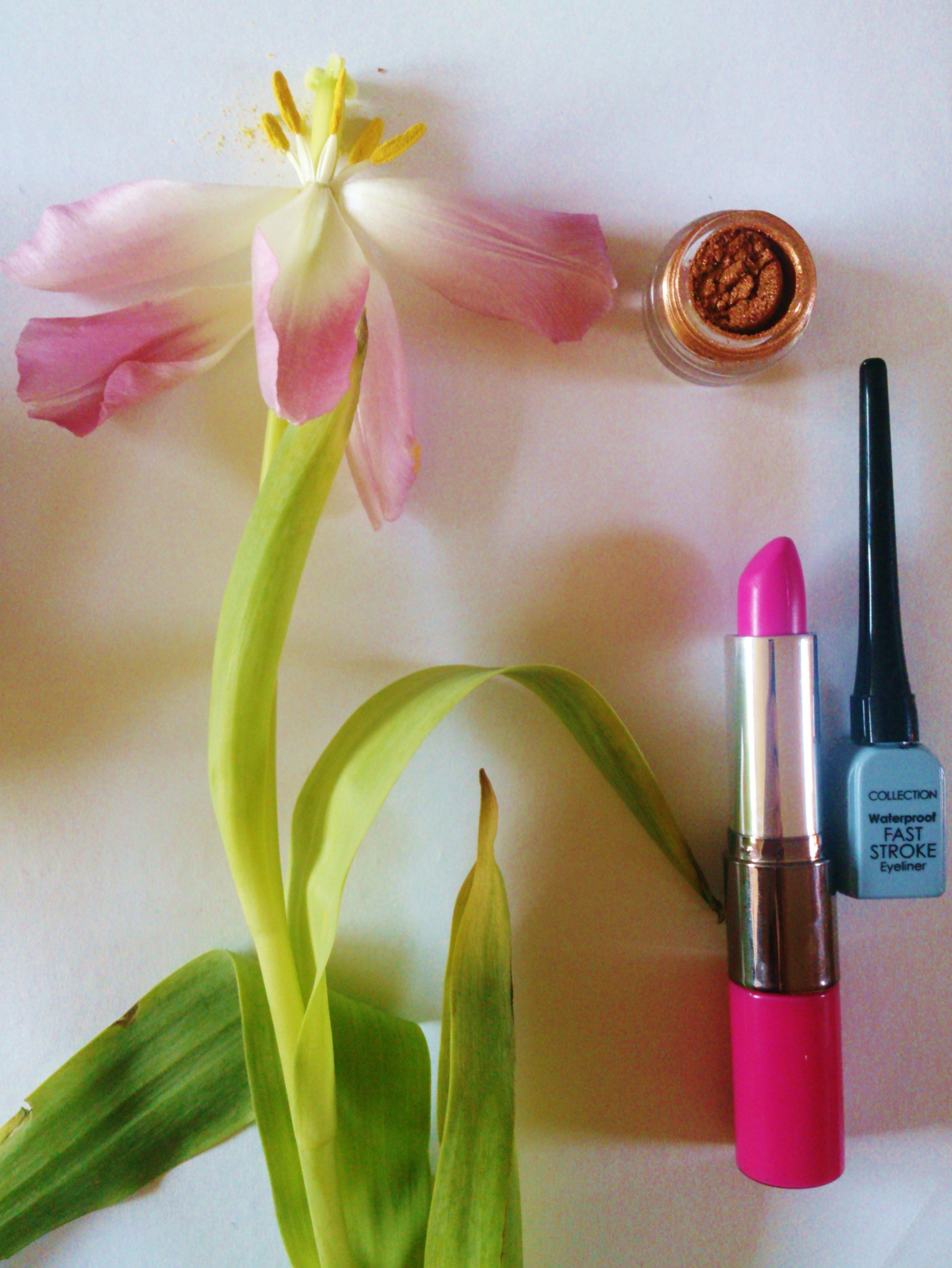 The pots of loose mineral eye shadows reminded me of pollen, used as a very early natural pigment. I had been drawn to this lipstick for it's soft petal pink colour, ready for Spring!