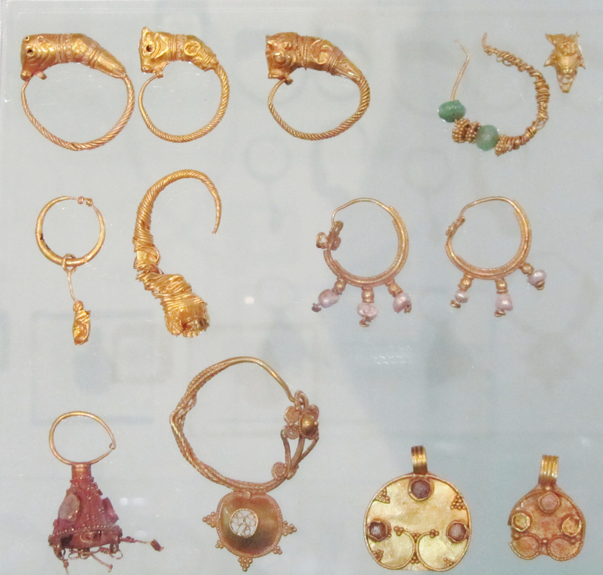 Ancient gold jewellery from Manchester Museum's Ancient World's exhibition.