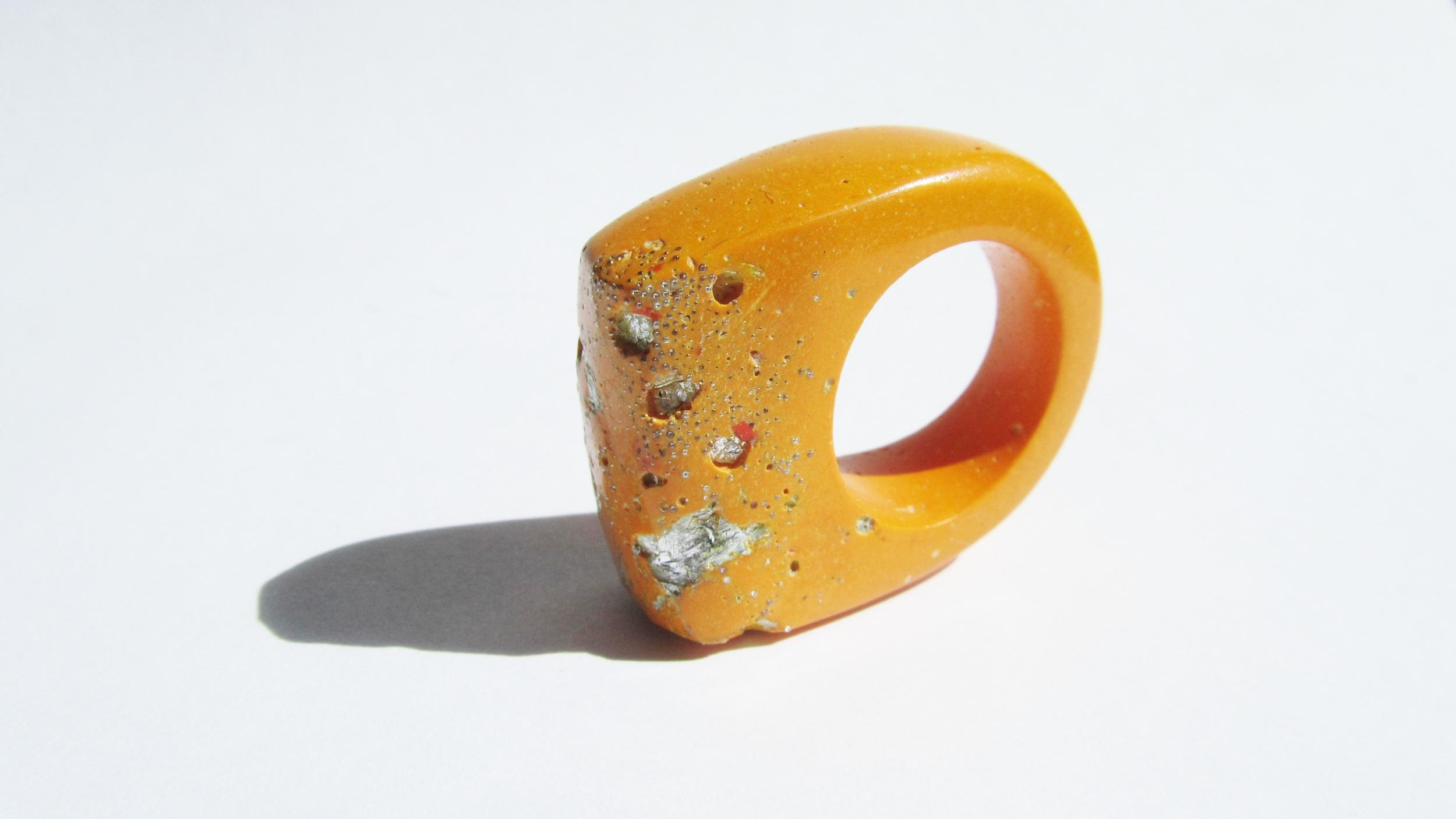 jade mellor hewn ring orange silver metallic caviar Q 3.JPG