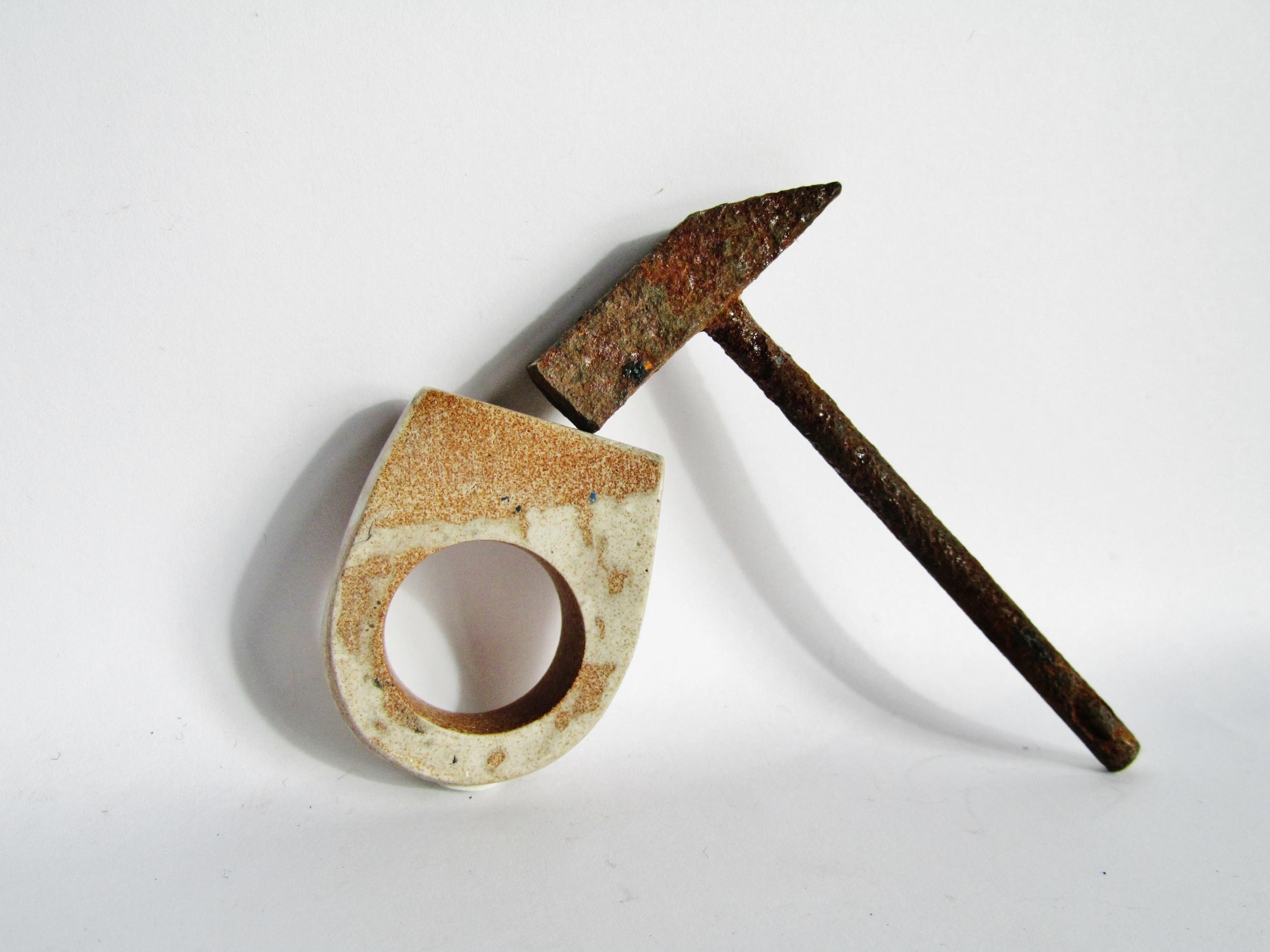 jade mellor hammer ring hewn rust.JPG