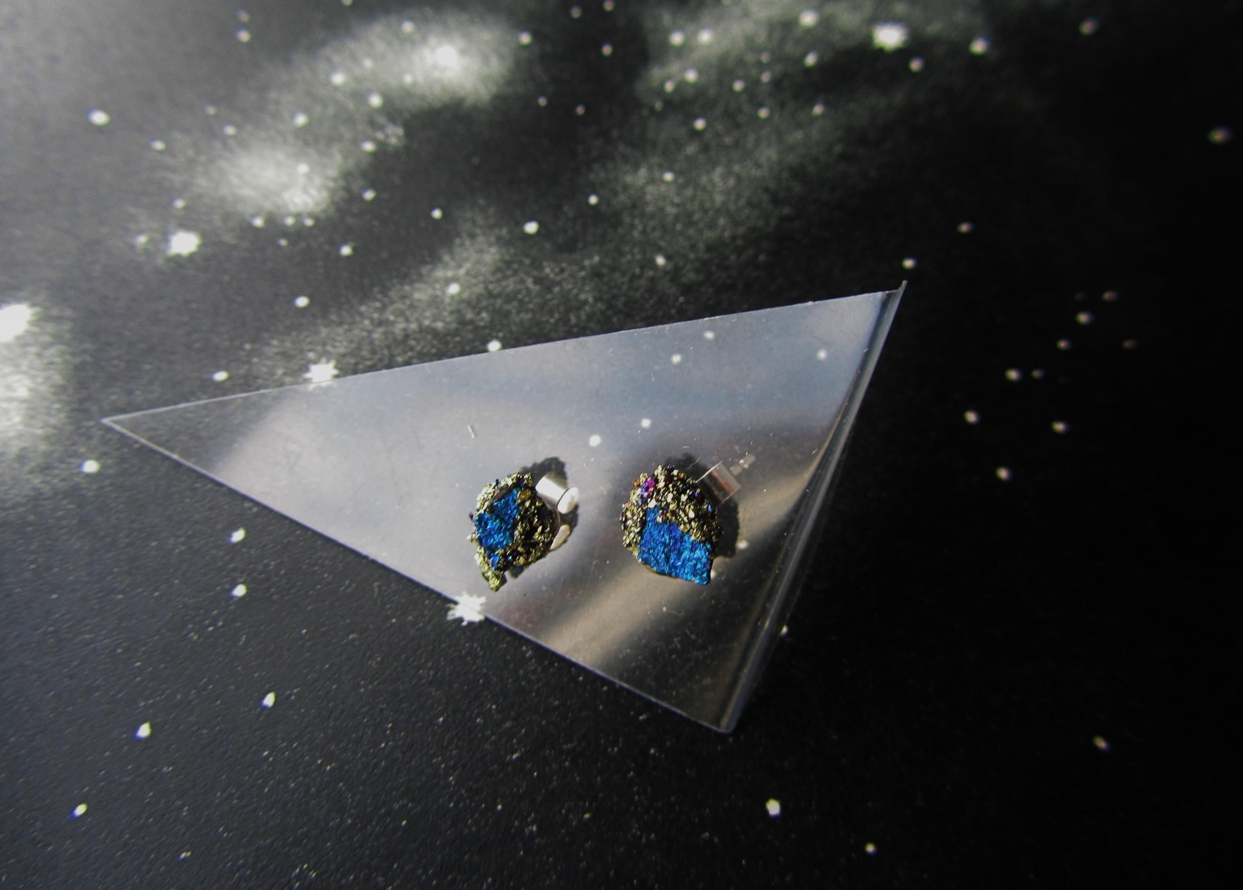 Blue peacock ore stu earrings jade mellor.JPG