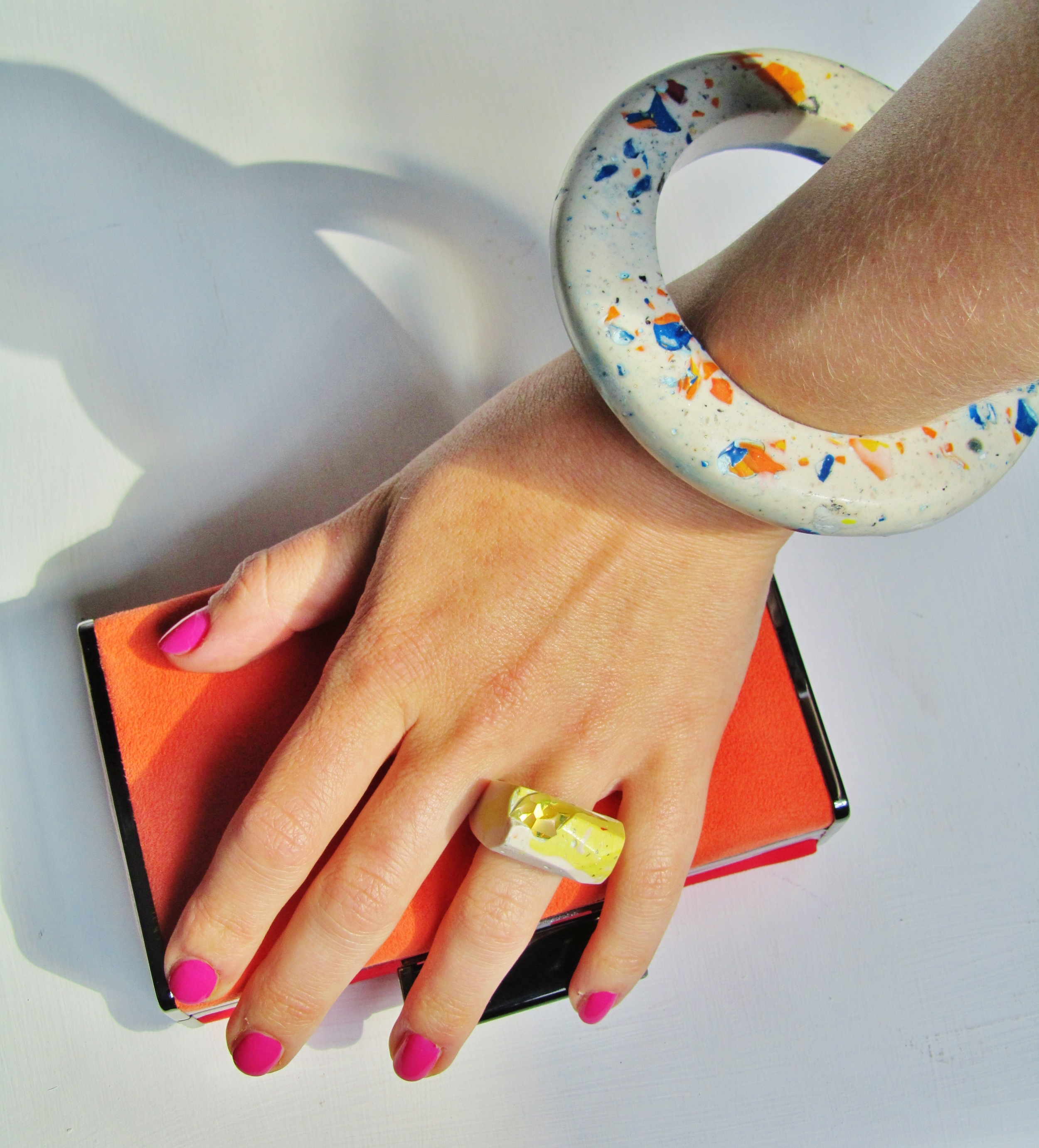 Yellow & white Swarovski crystal Hewn ring & Fragments bangle