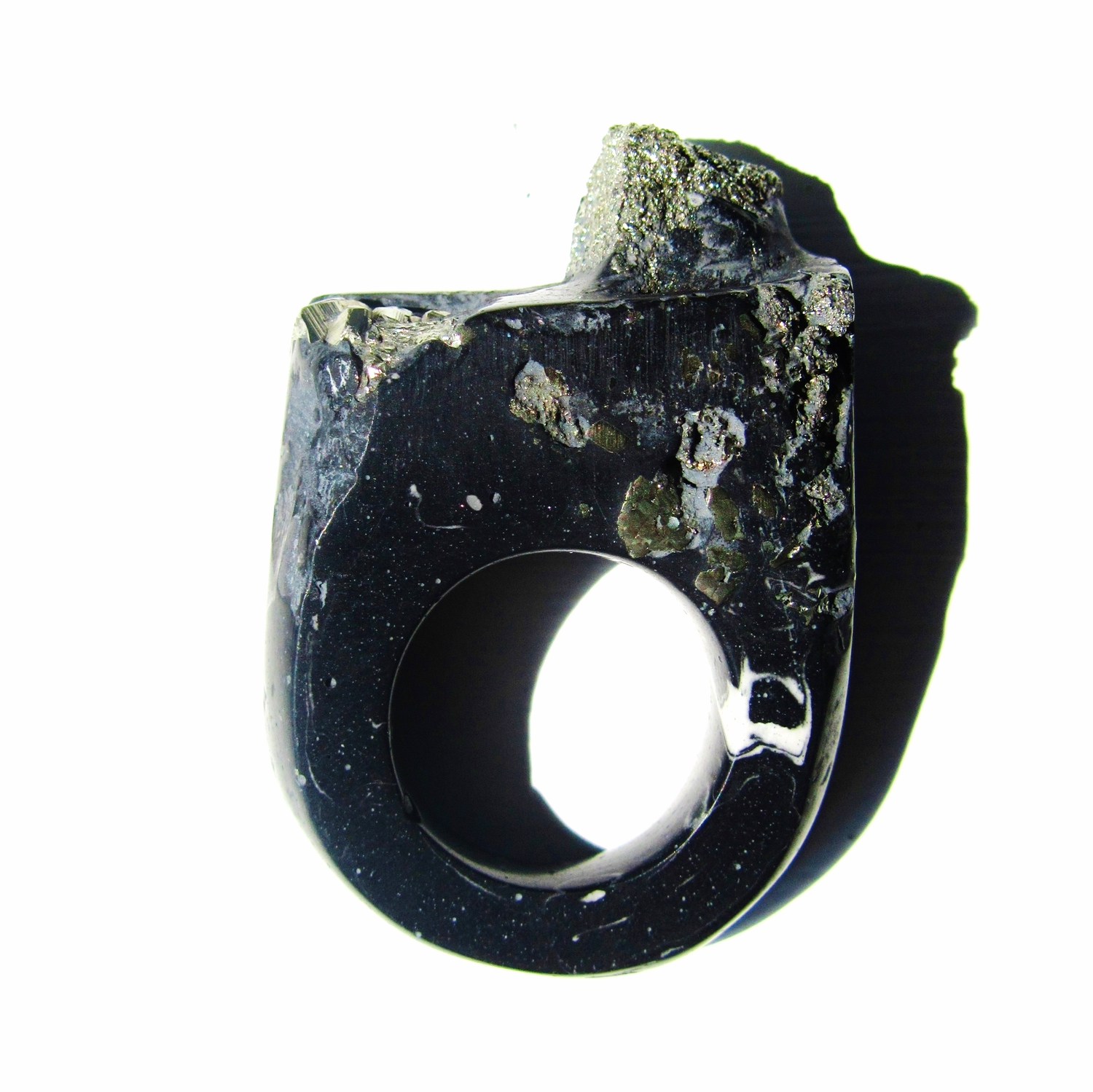 Marbled Black & Pyrite Hewn Ring, have yours bespoke made with a unique mineral specimenemail info@jademellor.com for detail.