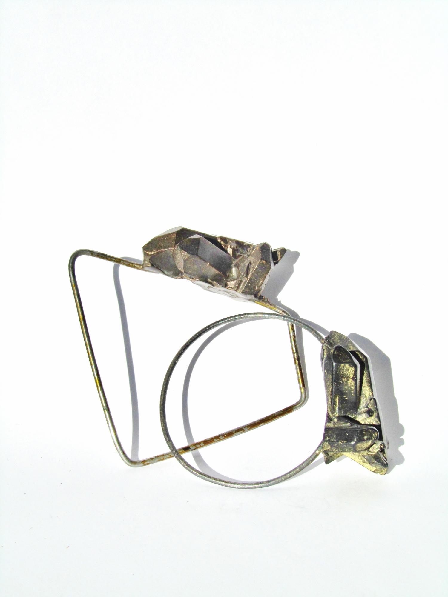 Gold Shard Bracelets, oxidised silver, resin, lustre.