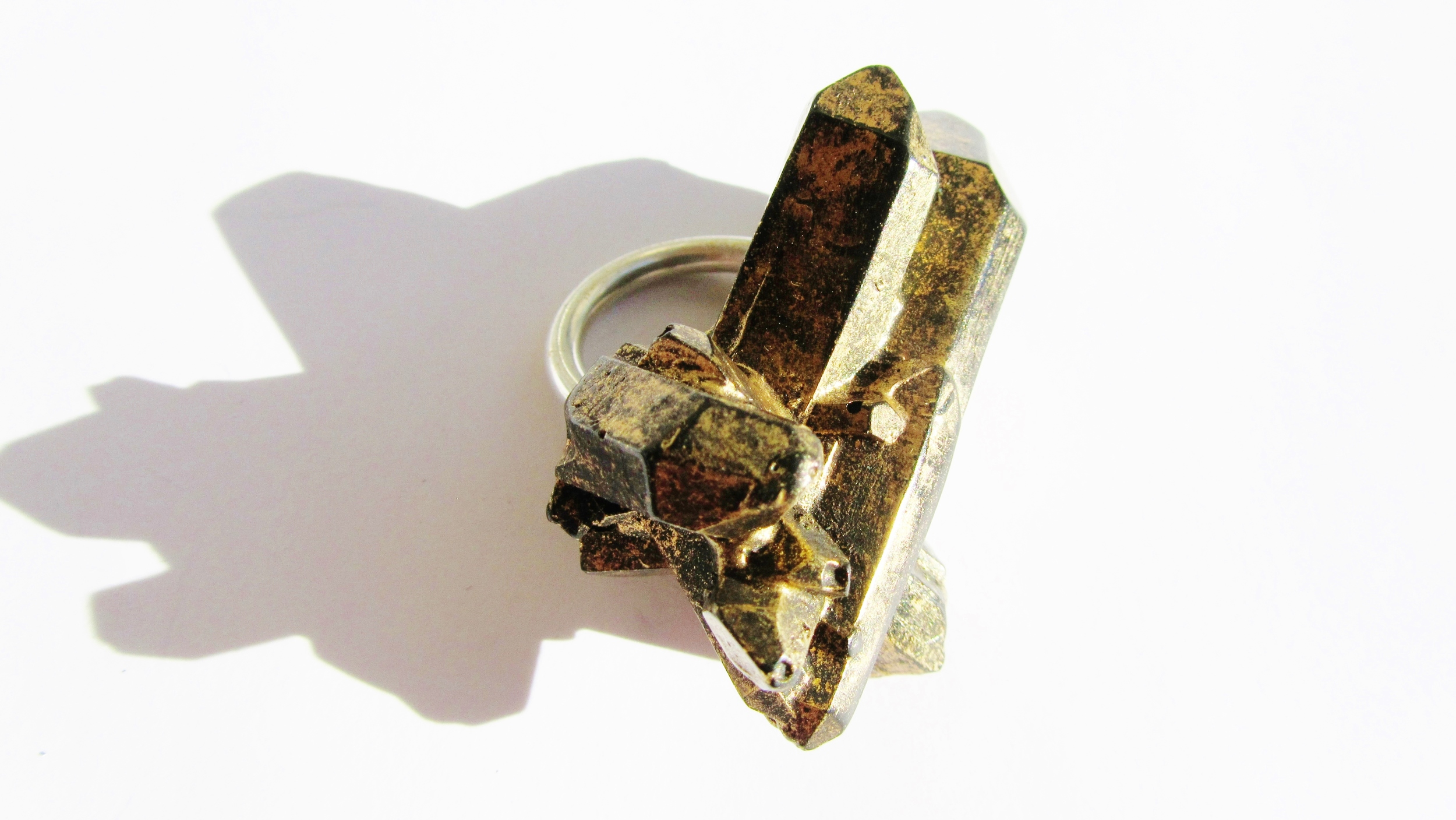 Gold Shard Ring. 2014 One of the pieces worn by Die Hexen in her performance for SpaceLife at Manchester Central Library. The Gold lustre glinting under the light from lunar shadows.