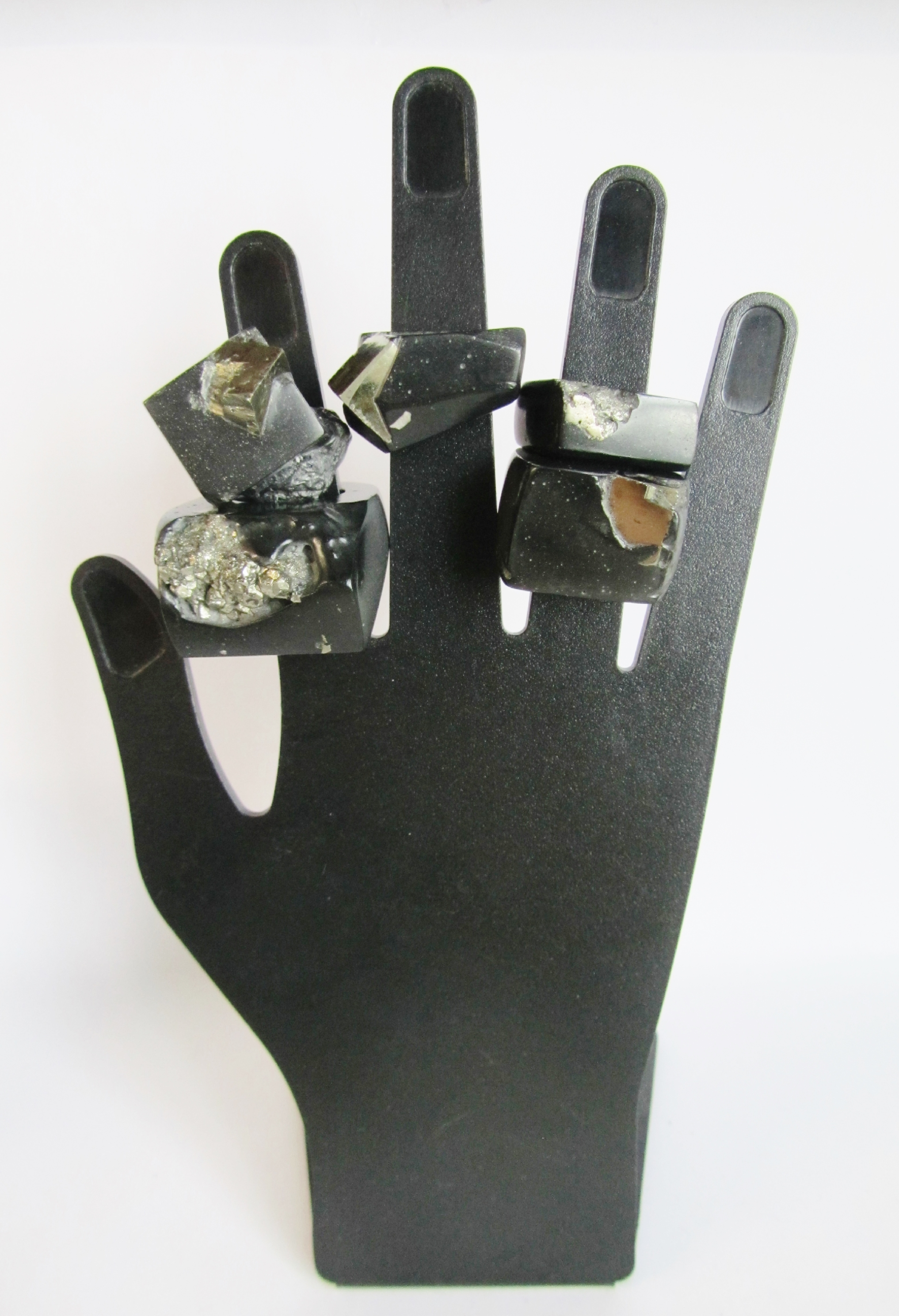 "Five ""Fool's Gold"" Rings of mine,  all using real specimens of the mineral pyrite available now at Craft & Culture  HERE"