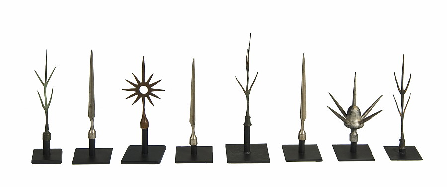 ASSEMBLED COLLECTION OF LIGHTNING ROD FINIALS, CA 1860-1920: Courtesy of Jeff Bridgeman