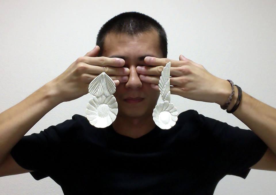 "Albert Setyawan, ceramic wearable ""spoons"""