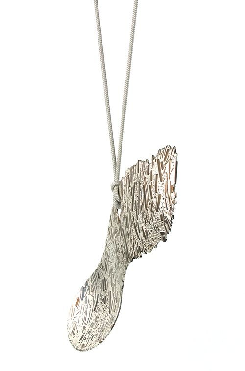 Simon Cottrell's spoon  Silver +10% Zinc alloy, Monel, Recycled woven nylon cord.    You can see Cottrell's work at Schmuck Munich, where he has been selected to show next year!