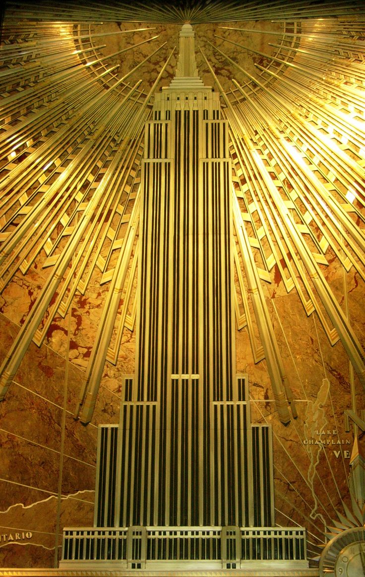 Art Deco plaque of the Empire State Building, New York.