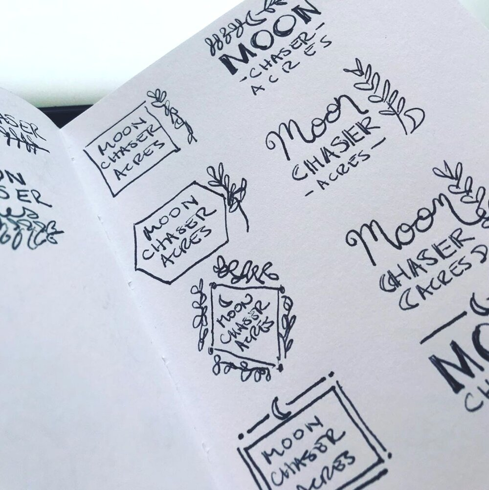 conceptual sketches for Moon Chaser Acres logo