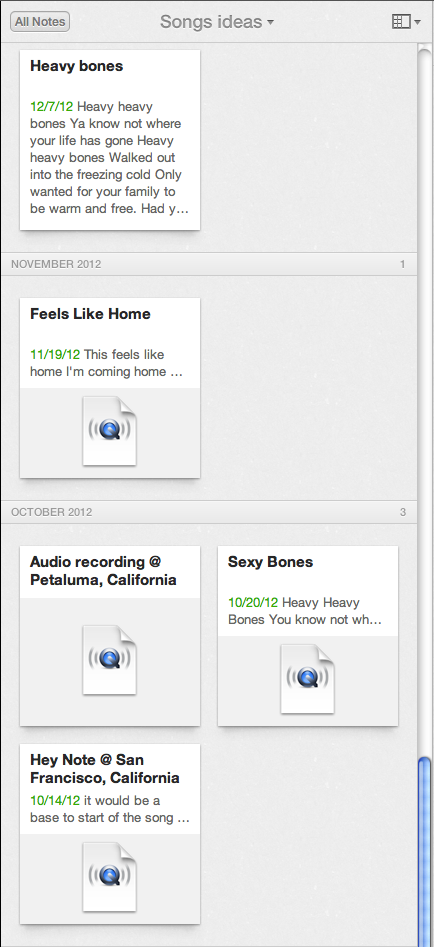 A sample of my Song Ideas notebook in Evernote
