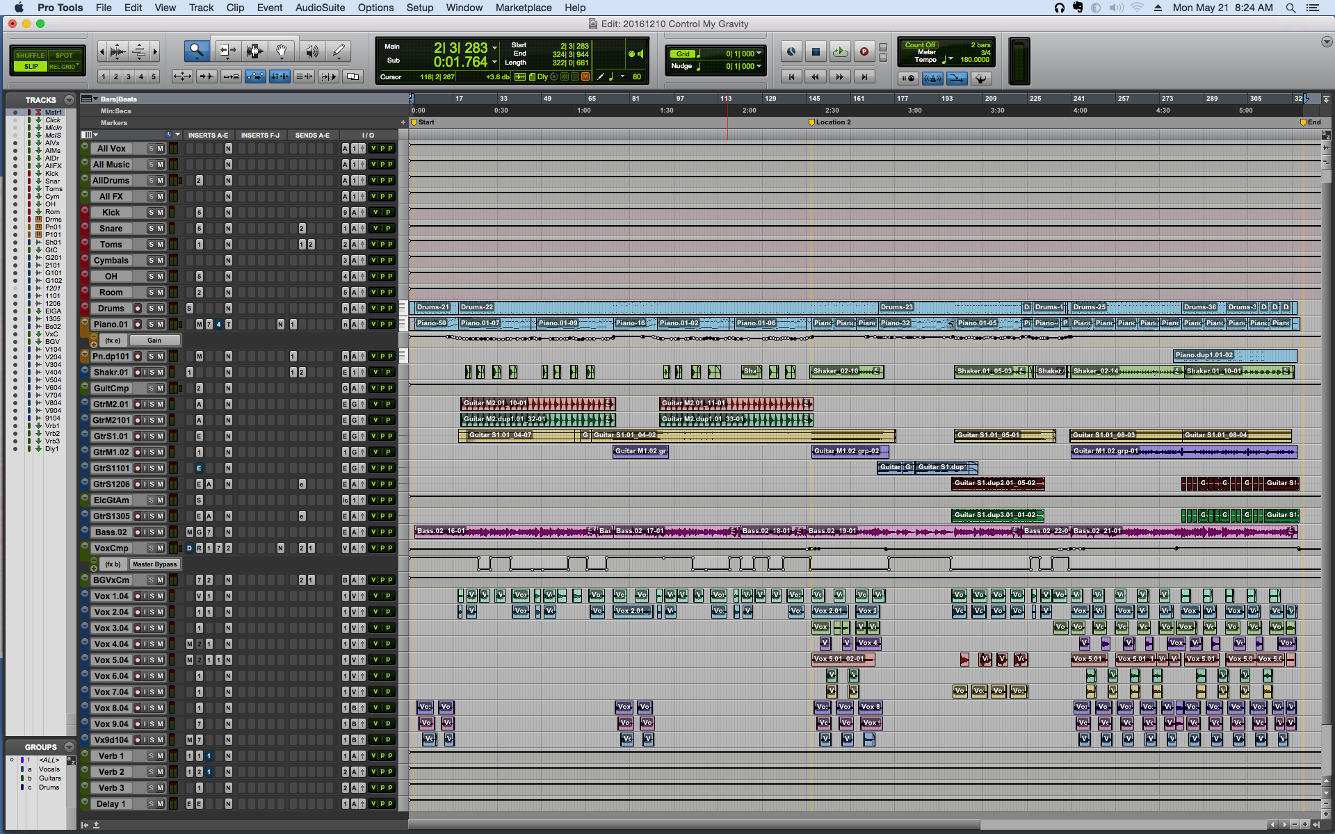 """""""Control My Gravity"""" finished Pro Tools project"""