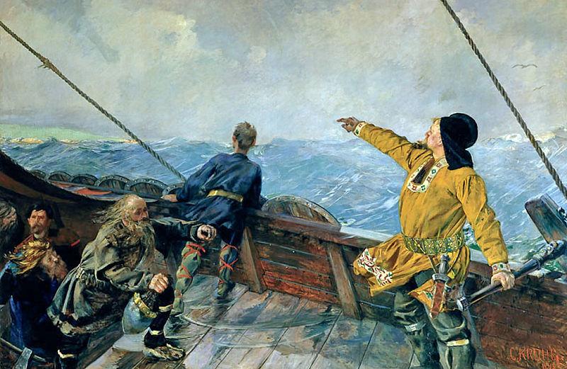 Leiv Eriksson på vei UT MOT VEST slik maleren Christian Krohg så det.
