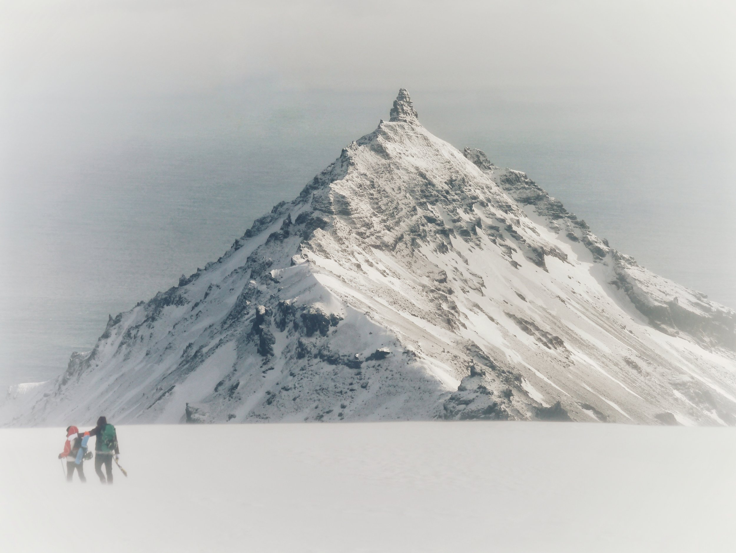 snow coming down from snæfellsjökull