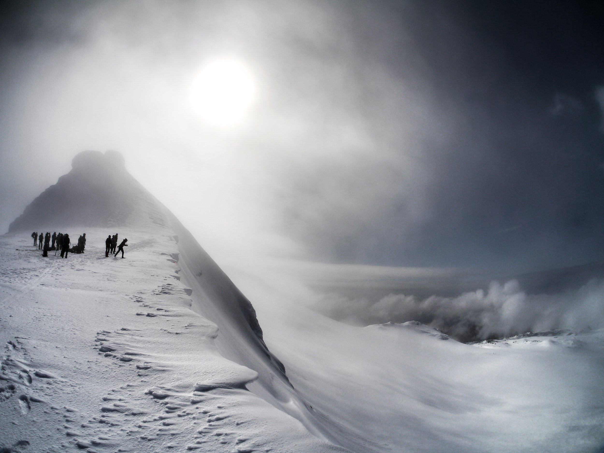 Admiring the summit view from Snæfellsjökull Glacier