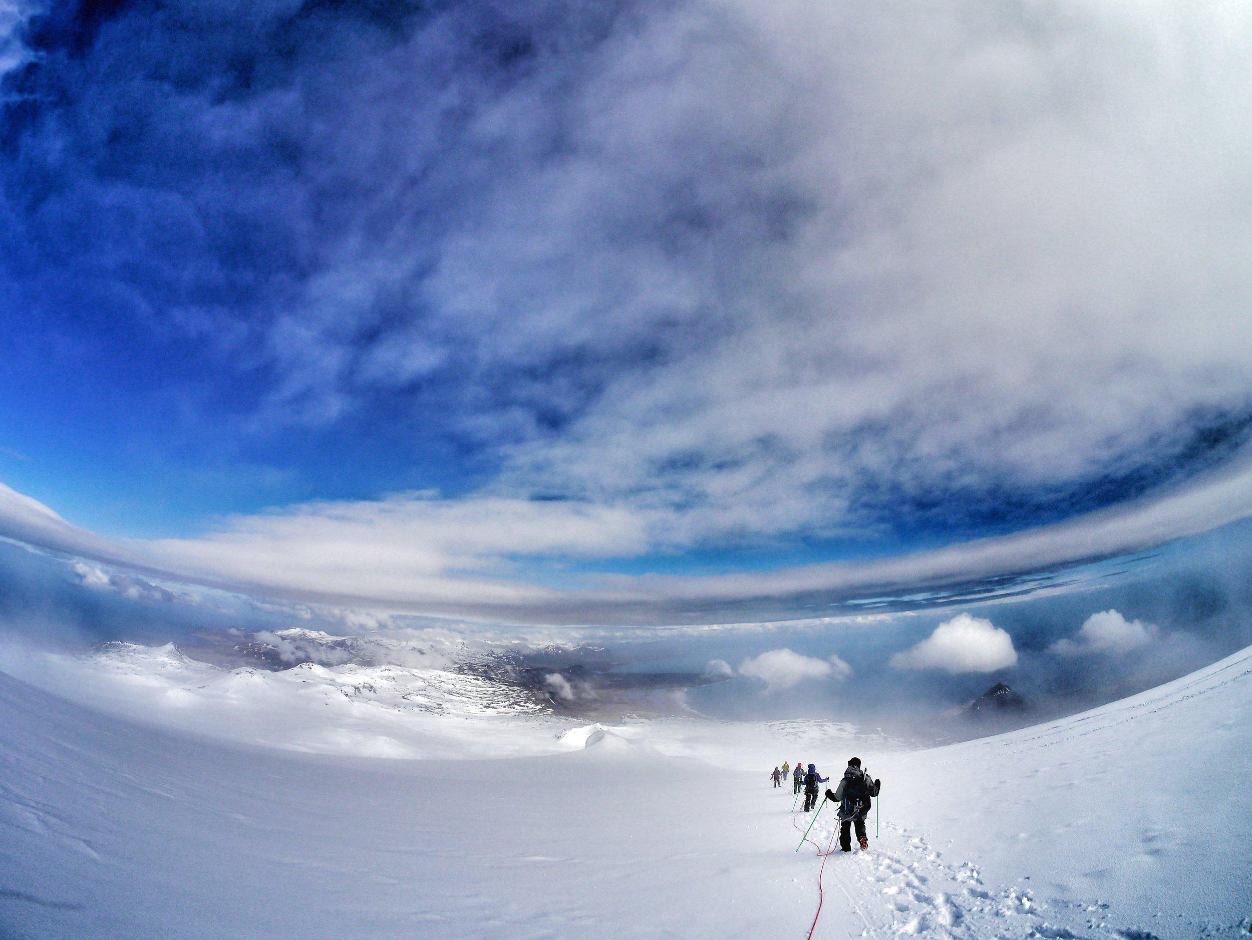 Hiking down from Snæfellsjökull glacier