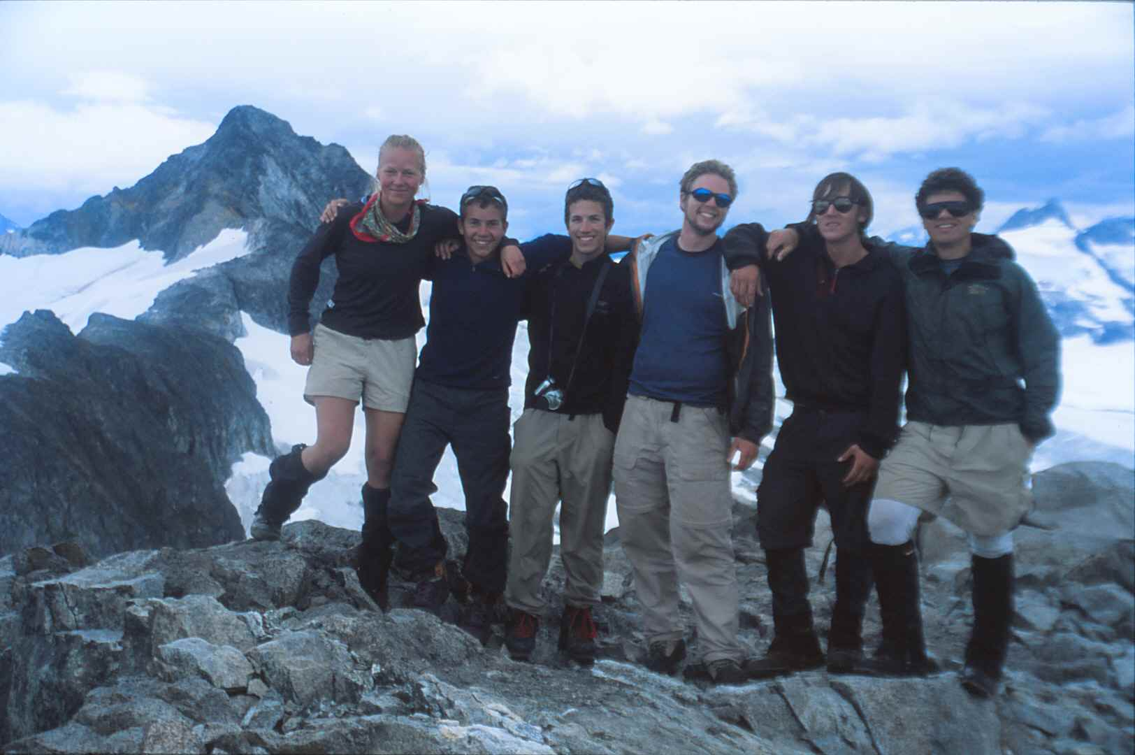 2004 JIRPers on top of 'Taku B'. From left to right: Kate Harris, Riley Hall, Evan Burgess, Keith (Laskowski) Ma, Winston Macdonald, and Robert Koenig. Photo: M. J. Beedle