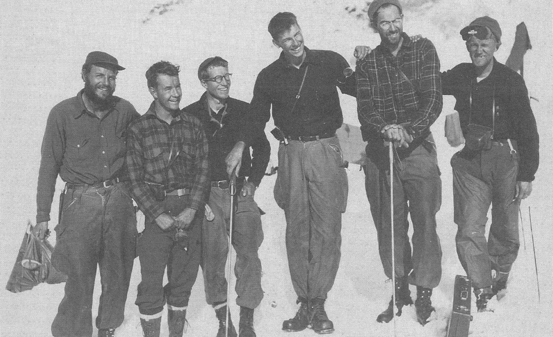 """Members of the first JIRP """"high ice"""" expedition to the Juneau Icefield in the summer of 1948. Left to right: Maynard Miller, W. Laurence Miner, Lowell Chamberlain, Melvin G. Marcus, William A. Latady and Anthony W. Thomas. Photo taken at Camp 4 on """"Hades Highway,"""" the upper Twin Glaciers' neve. Photo: FGER Archives"""