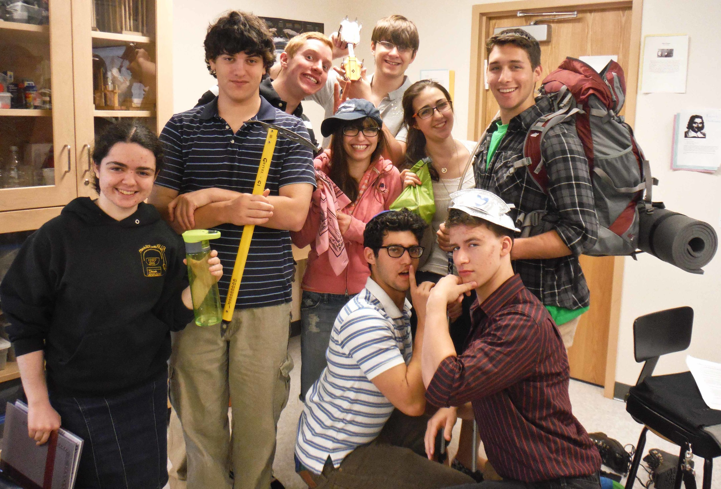 Sarah's students (future JIRPers?) pose with a selection of her gear.