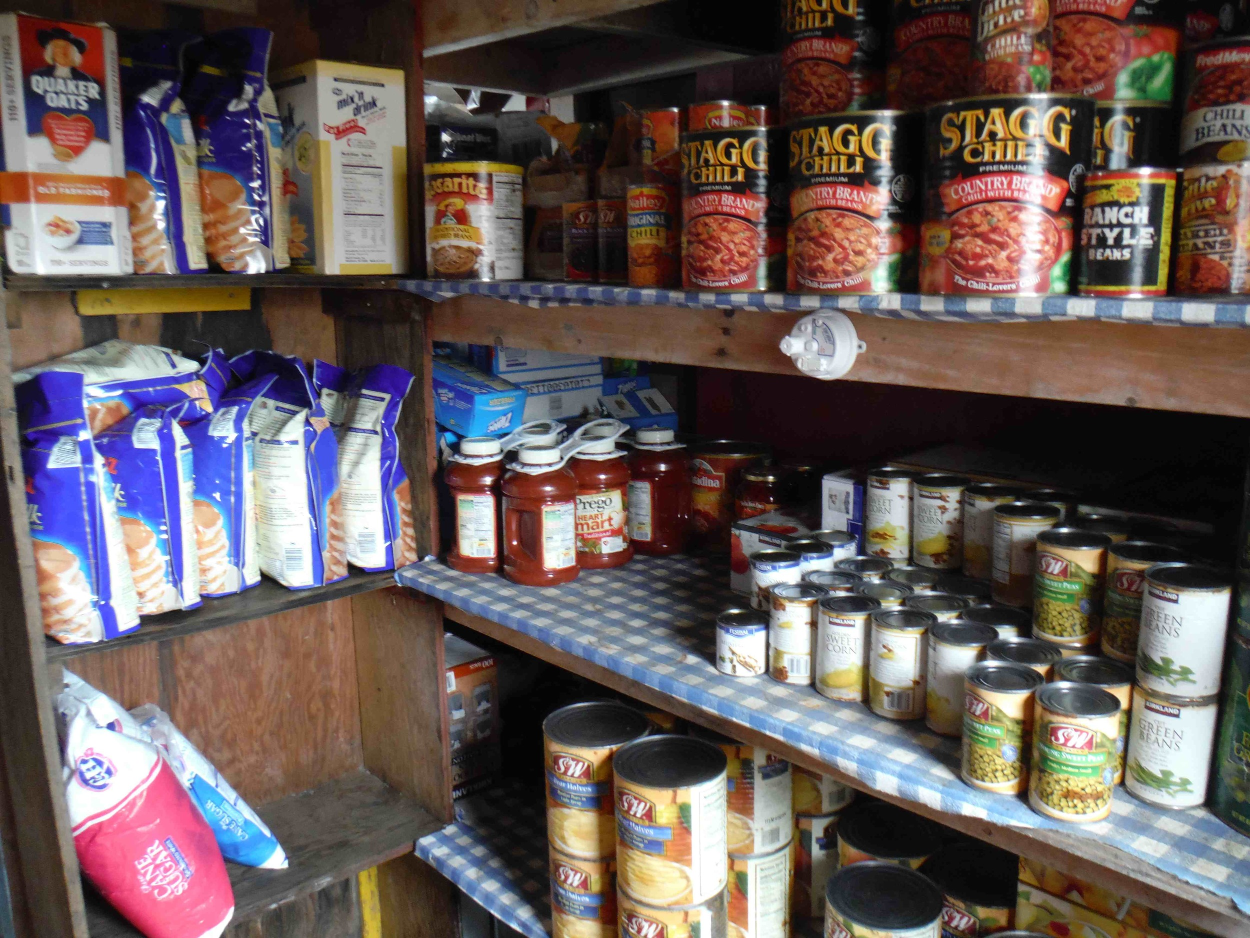 The Camp 17 pantry.  Enough food to feed a small army . . . of JIRPers!   Photo:  S. Bouckoms