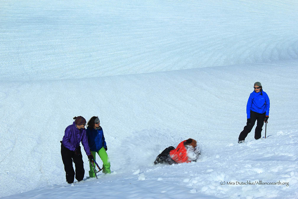Mira Dutschke, Justyna Dudek, Molly Blakowski and Annie Boucher practicing their self arrest skills on the side of Cairn Peak.  Photo:  Jeff Barbee