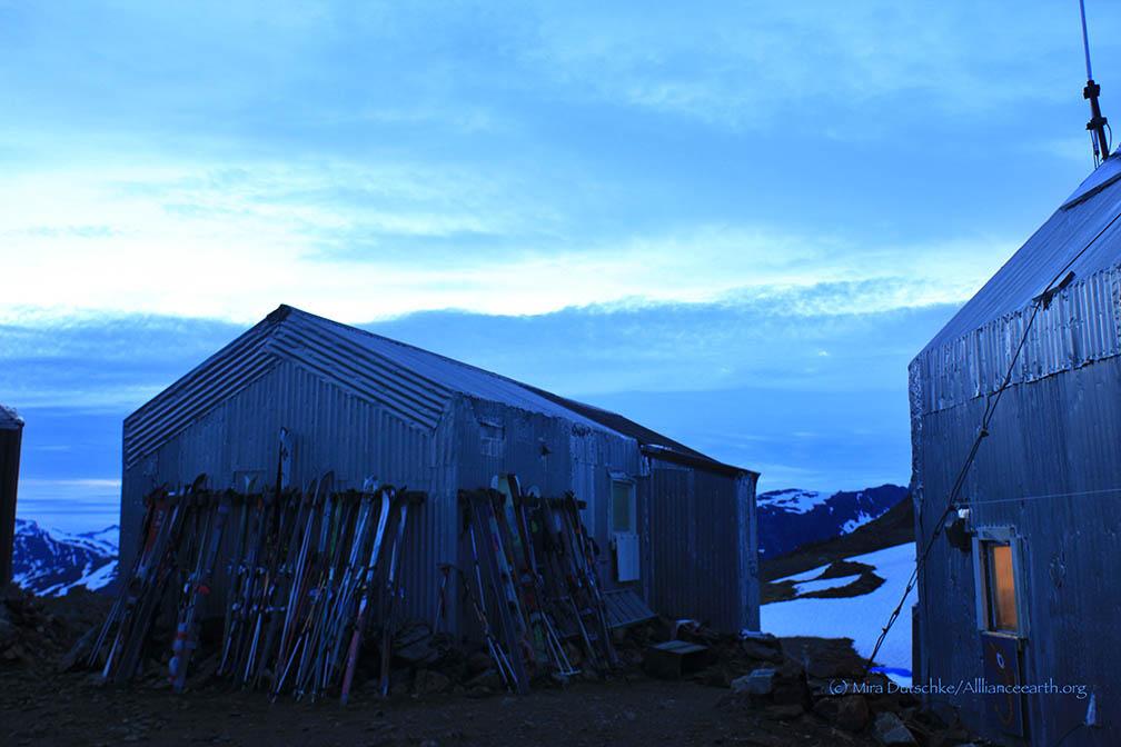 Skis line the Staff Shack at Camp 17. Photo: Mira Dutschke