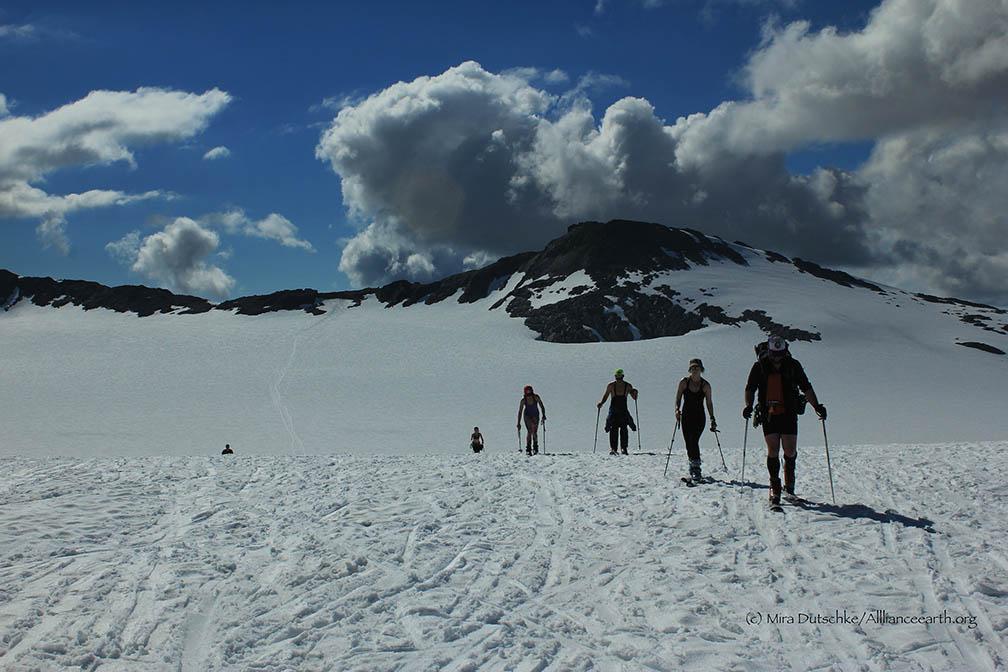 Ski practice on Lemon Creek Glacier on a sunny day. Ski tracks in the distance lead back to Camp 17. Photo: Mira Dutschke