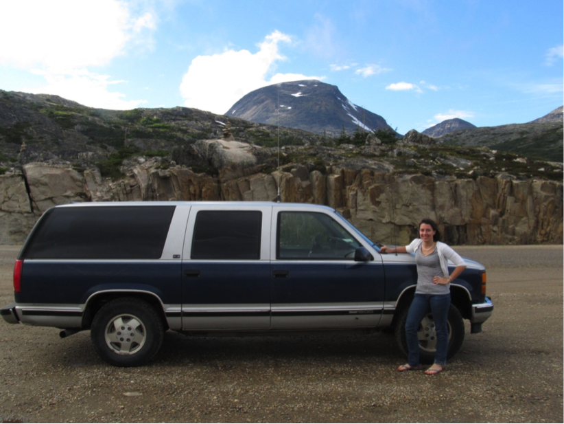 "Jamie and ""Blue"", the trusty JIRP Suburban, on their way to Atlin, BC, Canada to continue JIRP logistics in 2012.  Photo:  Jamie Bradshaw"