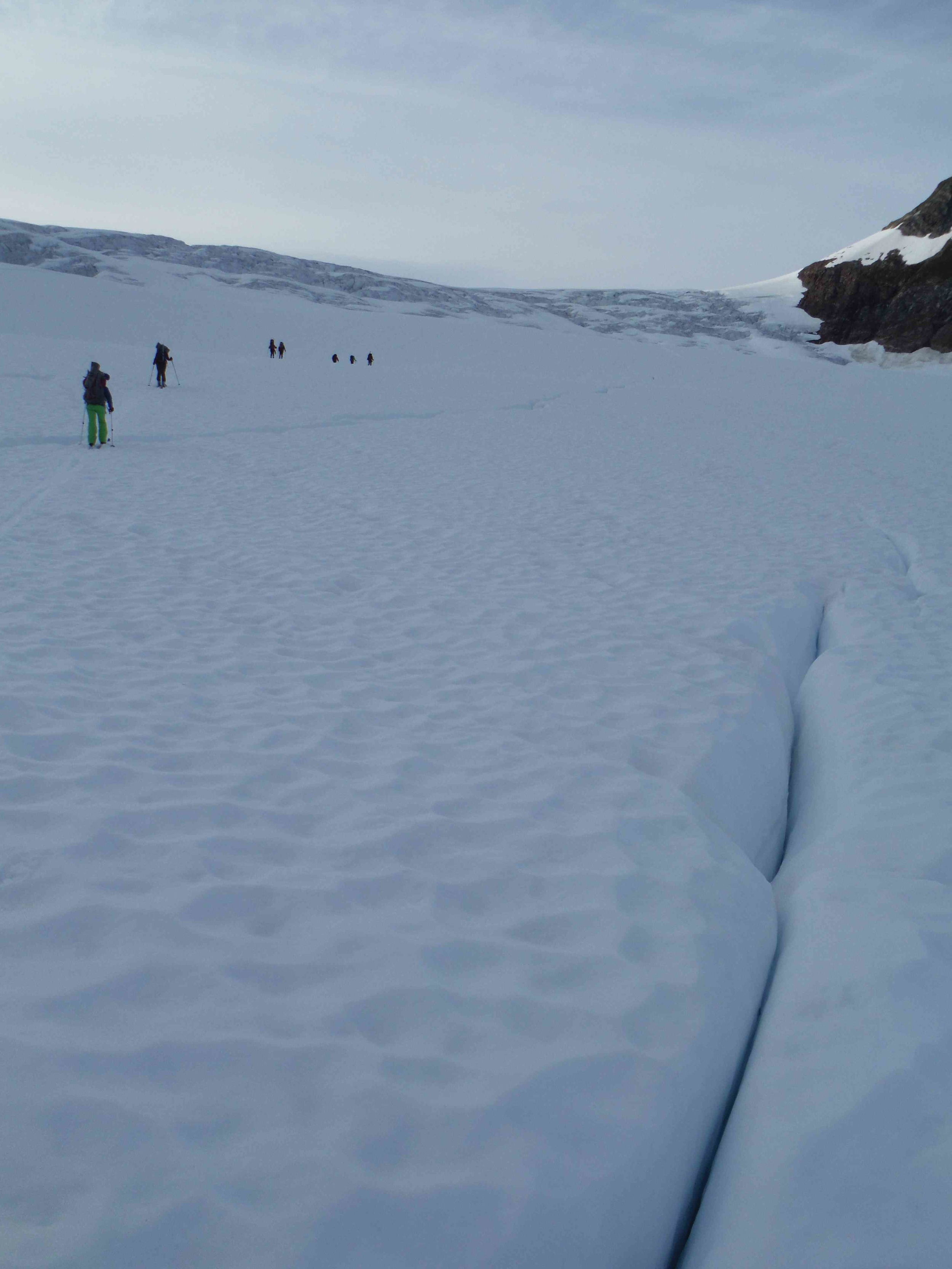 Skiers make their way up to the Norris Icefall.  Photo by Sarah Bouckoms.