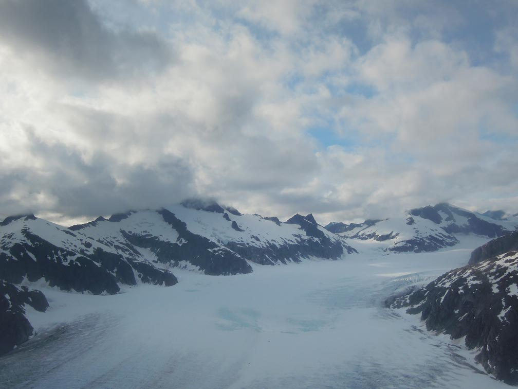 "Equilibrium line of the Mendenhall Glacier from Coastal Helicopters flight from Juneau to Camp 10.  ""I was struck by the vast wide open spaces of the Juneau Icefield"".  Photo by Stephanie Streich"