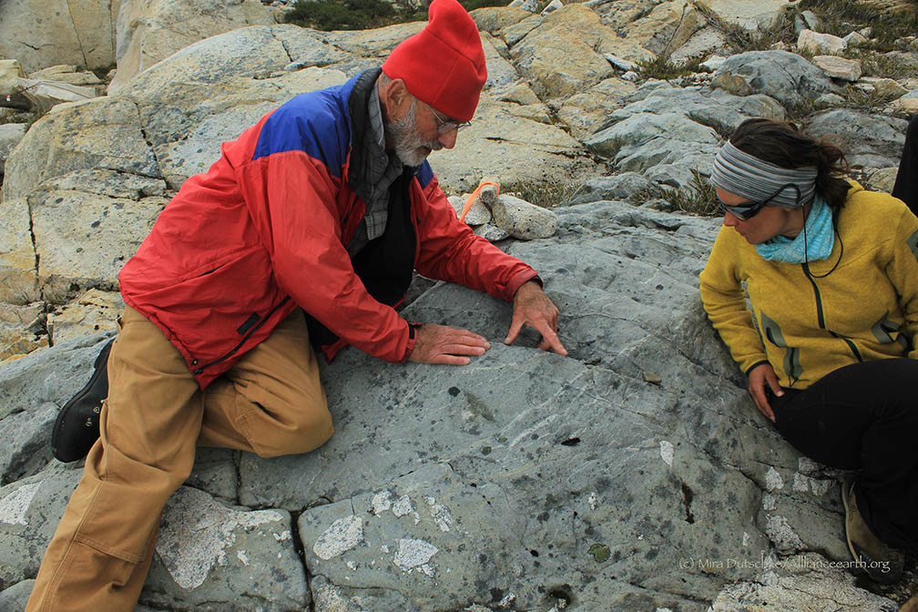 Dr. P. Jay Fleisher leads a geology field trip near Camp 10.  Photo by Mira Dutschke