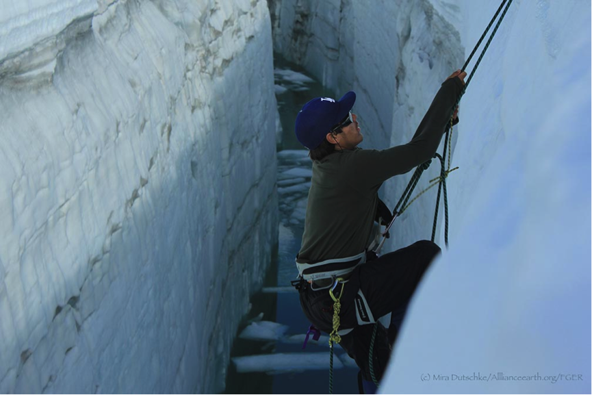 Alex Donkov prussiking out of the crevasse.  Photo by Mira Dutschke.