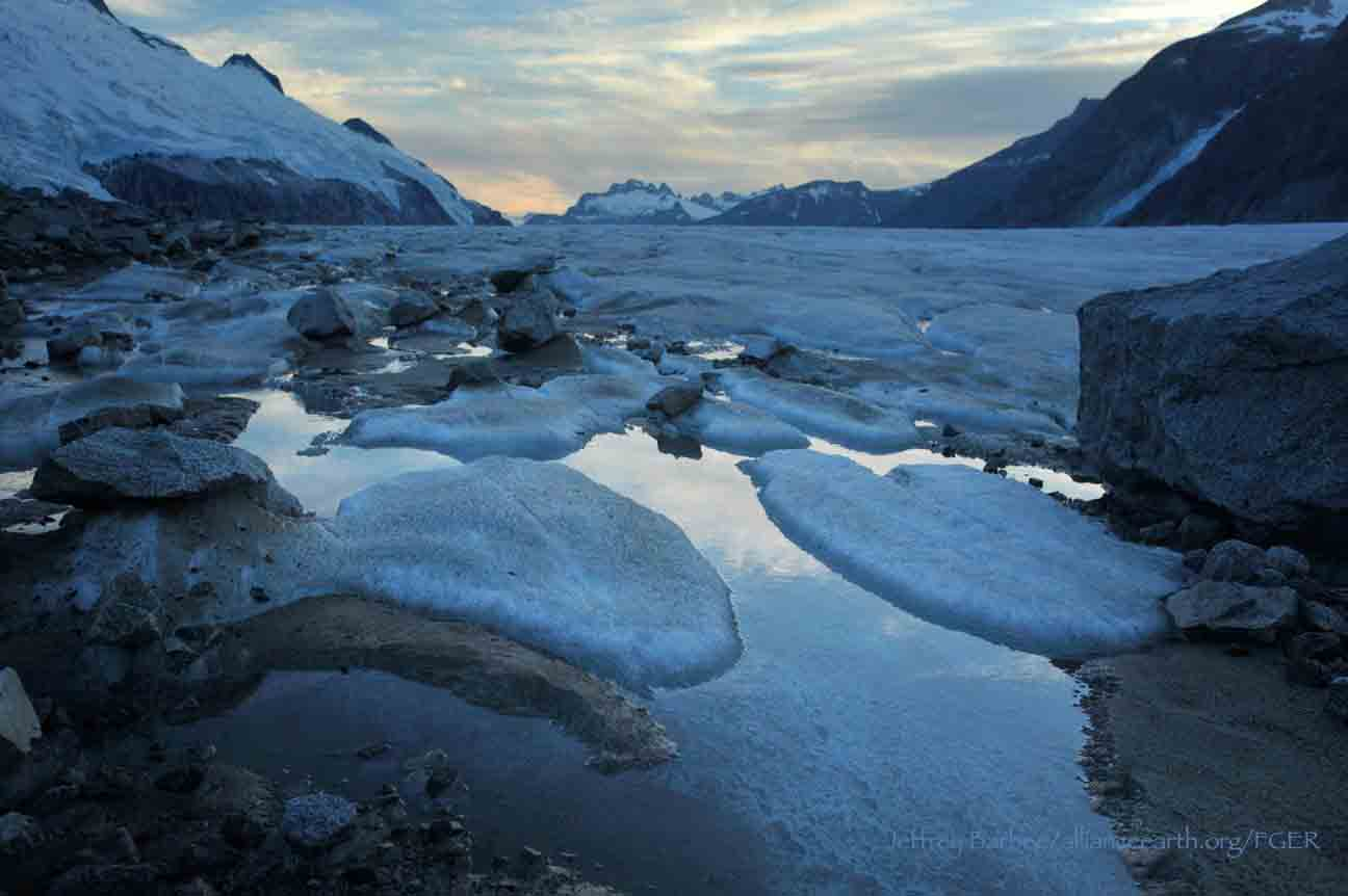 Evening light on the surface of Gilkey Glacier.  Photo by Jeffrey Barbee.