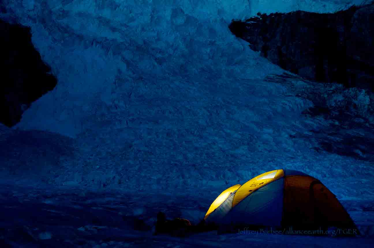 Gilkey Glacier camp (Camp 18 B) below the Vaughan Lewis Icefall (in background).  Photo by Jeffrey Barbee.