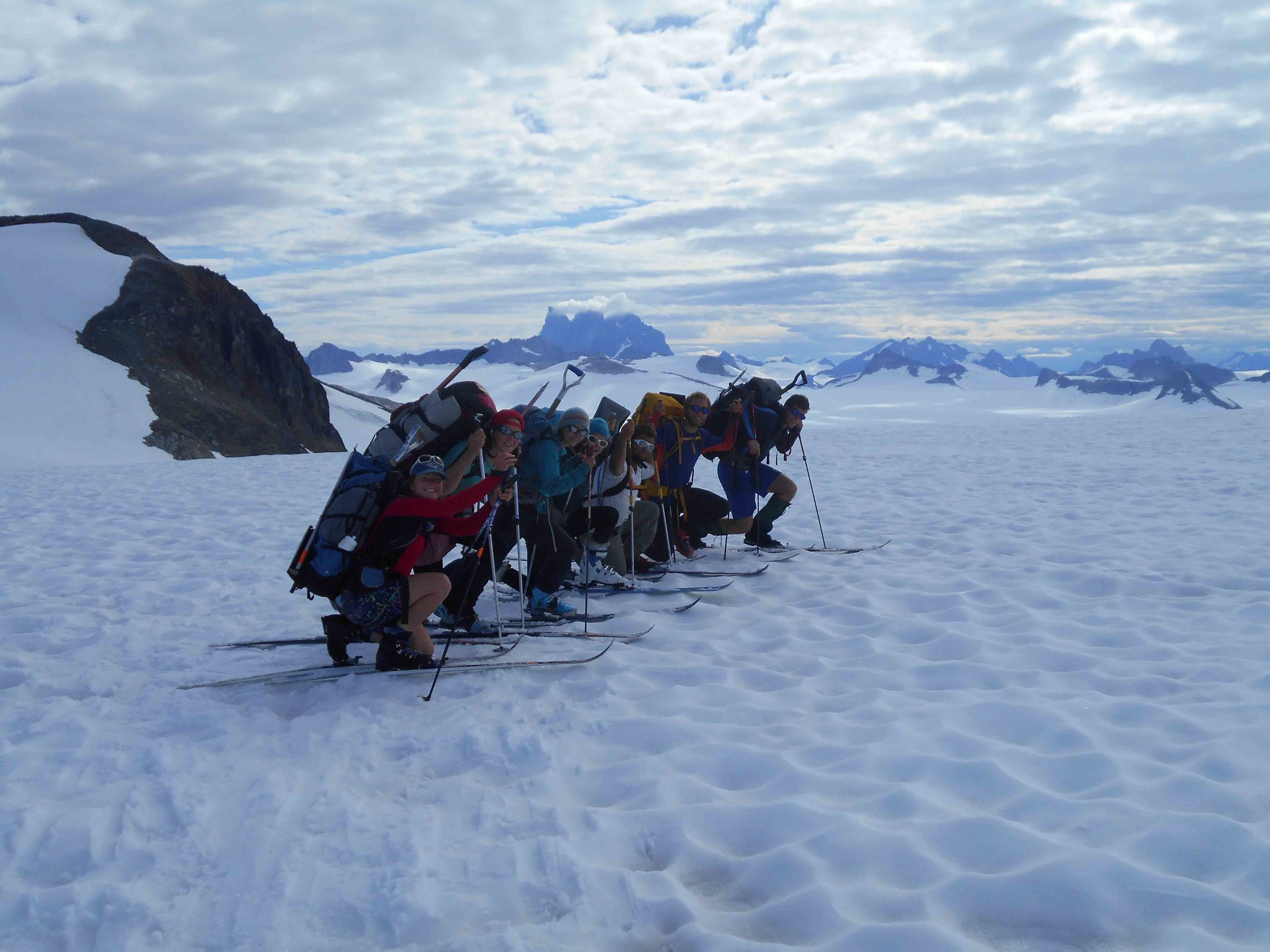 The mass-balance crew on the morning before skiing to the Demorest Glacier pit. Photo by Mary Gianotti.