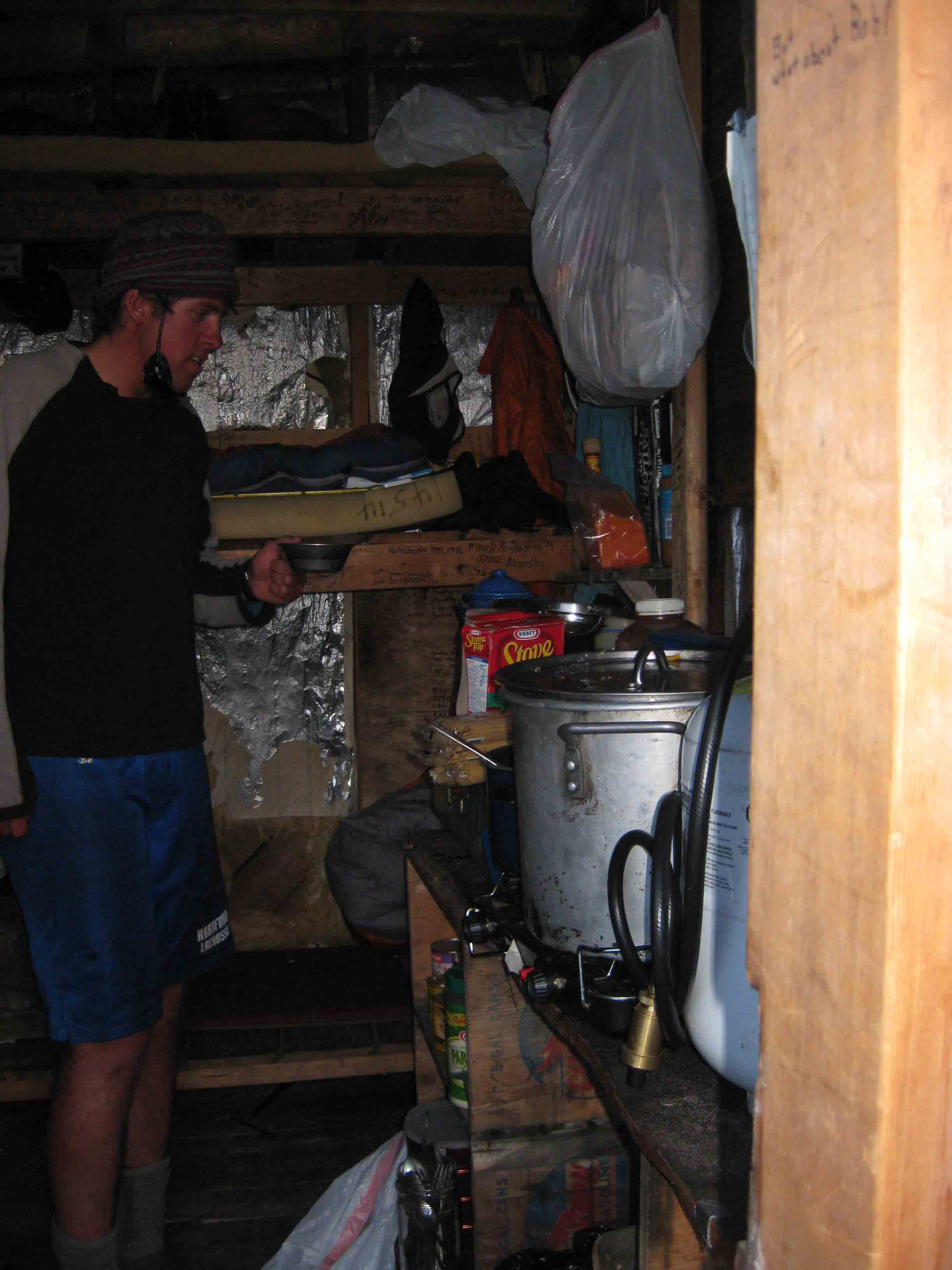 Interior of Camp 9 with Matt Pickart. Photo by Annie Cantrell.