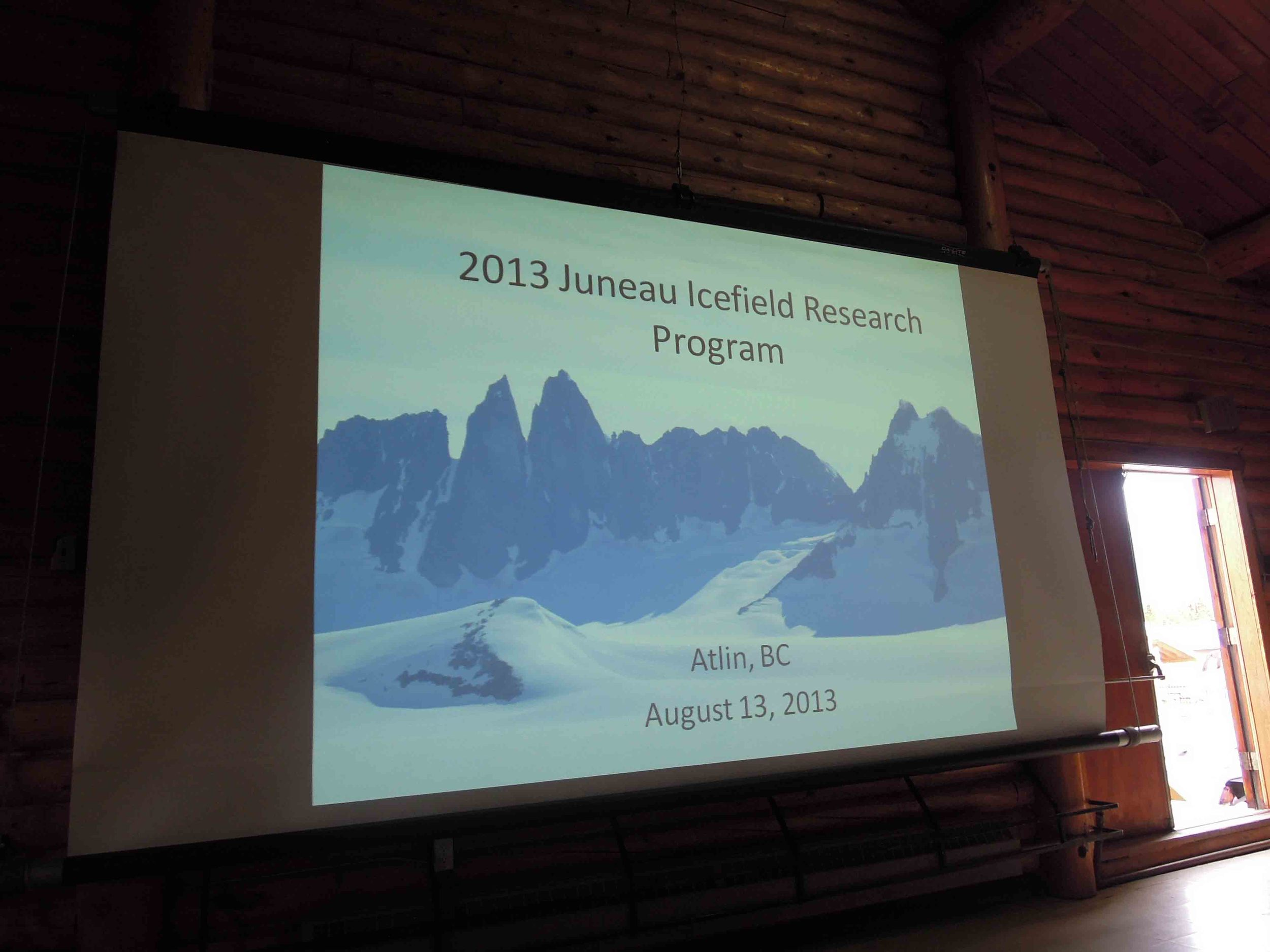The introductory slide to our academic presentations at the Atlin Rec Center.  Photo by Stephanie Streich.