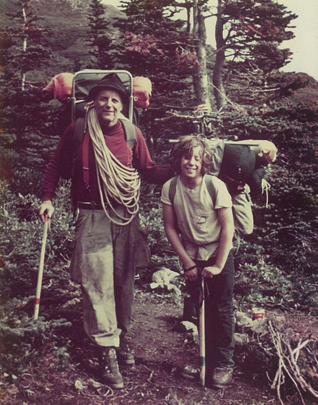 Dr. Miller and son Lance near Llewellyn Glacier.  Photo courtesy of the Miller family.